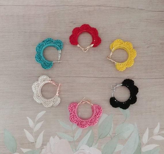 Crochet Scallop Hoop Earrings