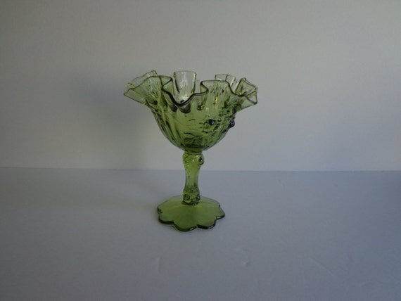Fenton Colonial Green Cabbage Rose Petal Foot Candy Dish