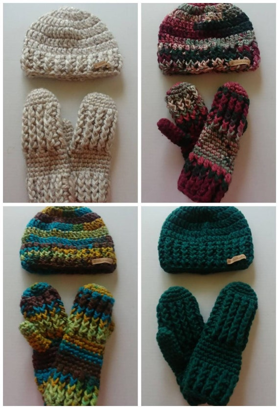 Chunky Hat and Mitten Set