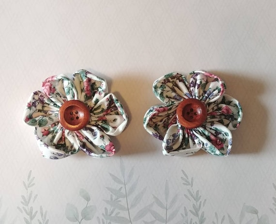 Fabric and Button Flowers Set of 2.