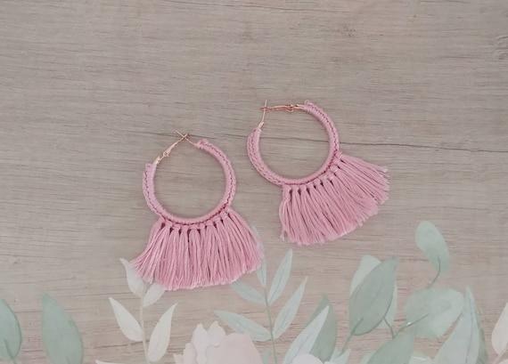 Pink Tassel Hoop Earrings