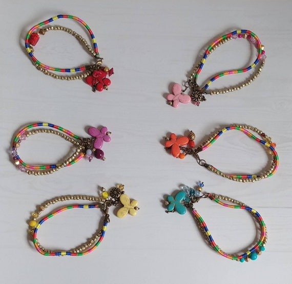 Beaded Butterfly Multistrand Bracelets