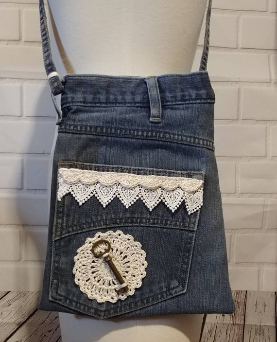 Denim and Lace Crossbody Bag