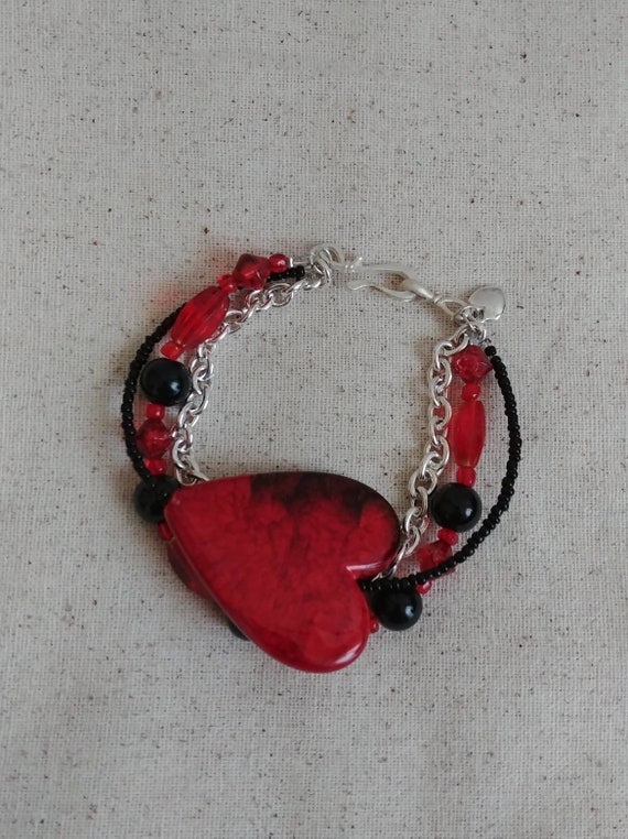 Red Heart Multistrand Bracelet
