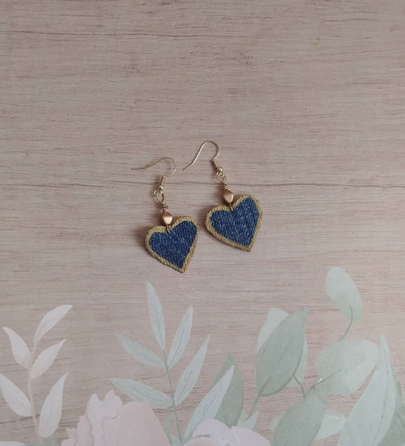 Upcycled Denim and Gold Heart Earrings