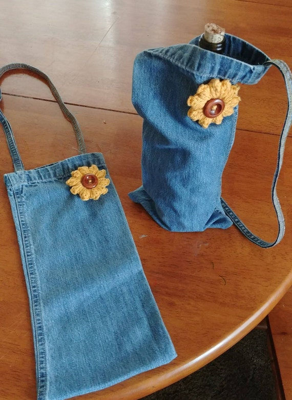 Denim Wine Bag