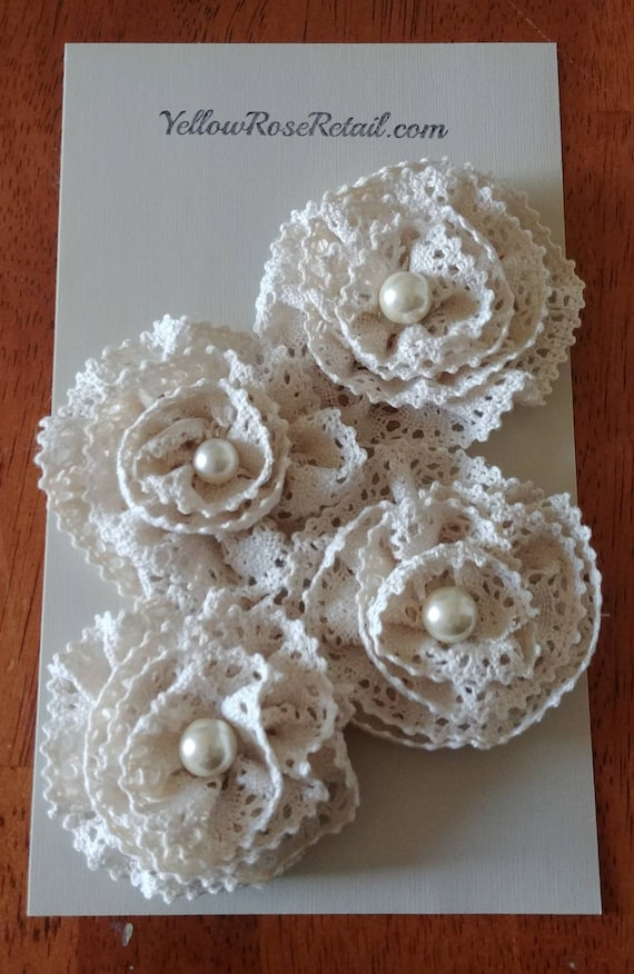 Antique Lace and Pearl Flowers Set of 4