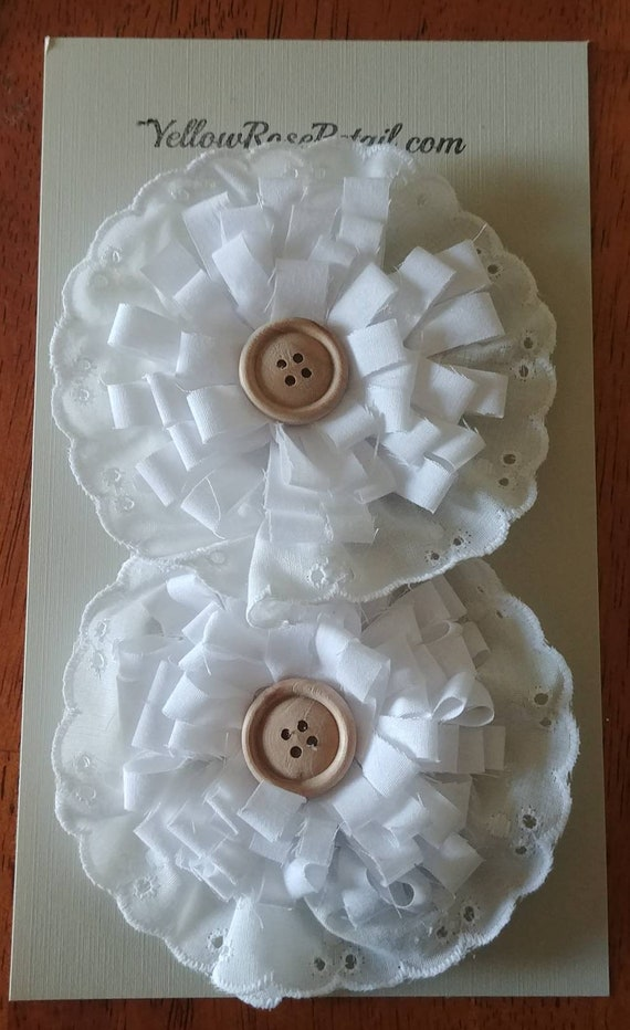 White Cotton and Lace Flowers Set of 2