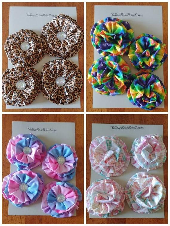 Ruffled Fabric Flowers Set of 4