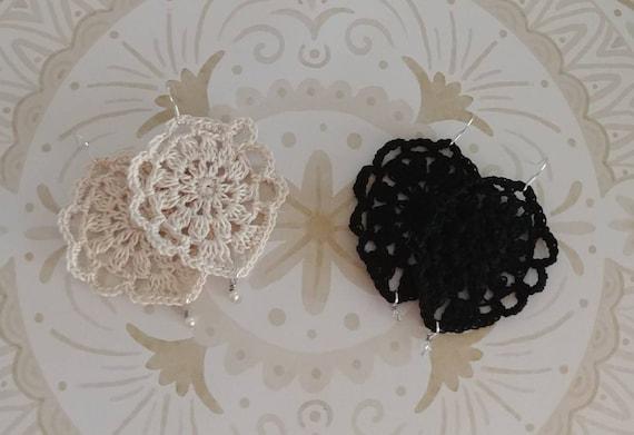 Crochet Drop Earrings, Black or Ivory