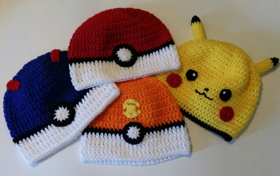 Pokemon Ball and Pikachu Hats, All Sizes