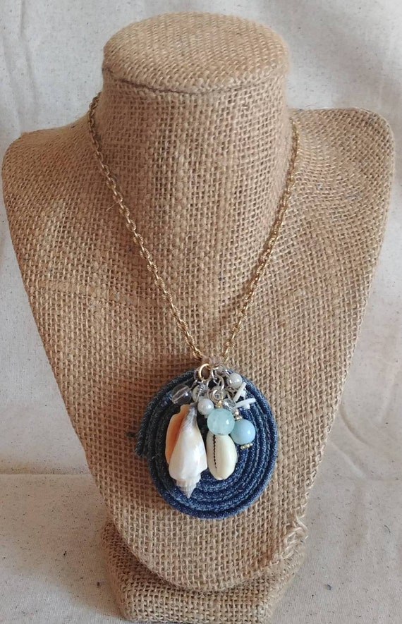 Sand and Sea Upcycled Denim Necklace
