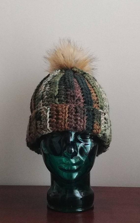 Chunky Camo Hat with Pom