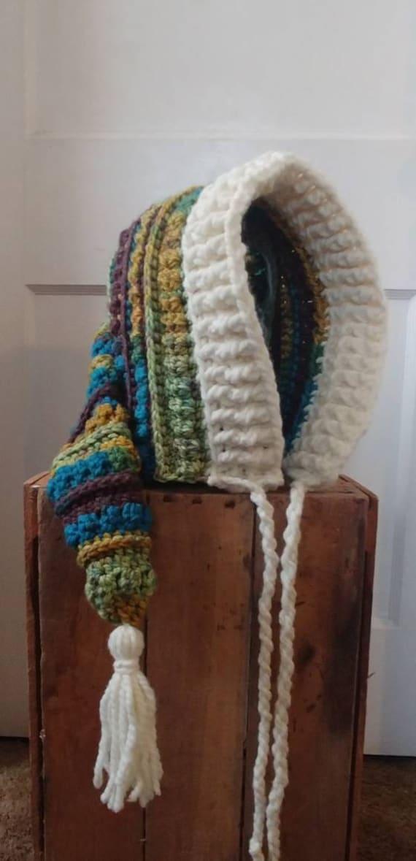 Sale! Chunky Forest Hood, Crochet Hood, Tassel Hood, Womens Hood, Womens Hat, Winter Hood, Crochet Hat, Free Shipping
