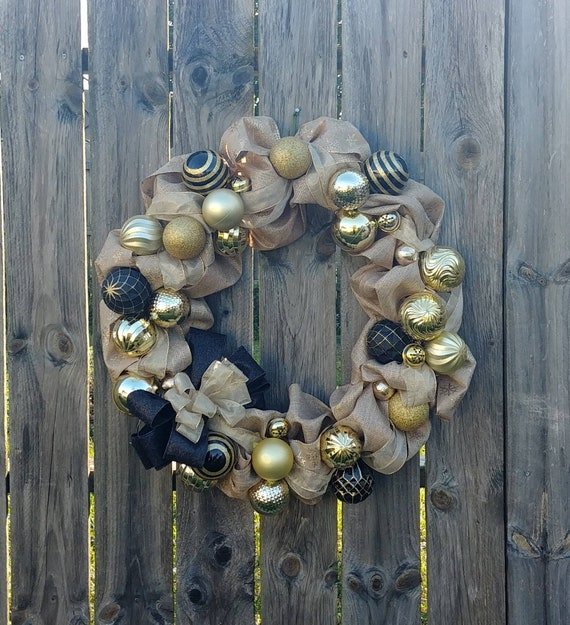 Gold Holiday Wreath, Christmas Wreath, New Years Wreath, Burlap Wreath, Holiday Decor, Christmas Decor, New Years Decor, Free Shipping
