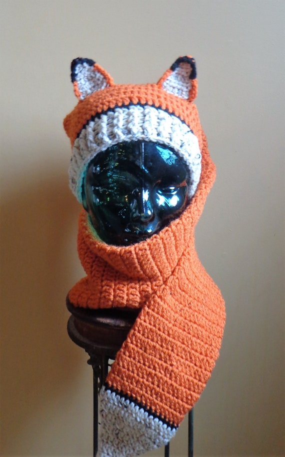 Crochet Pattern Fox Hat/Scarf Combo Digital Download