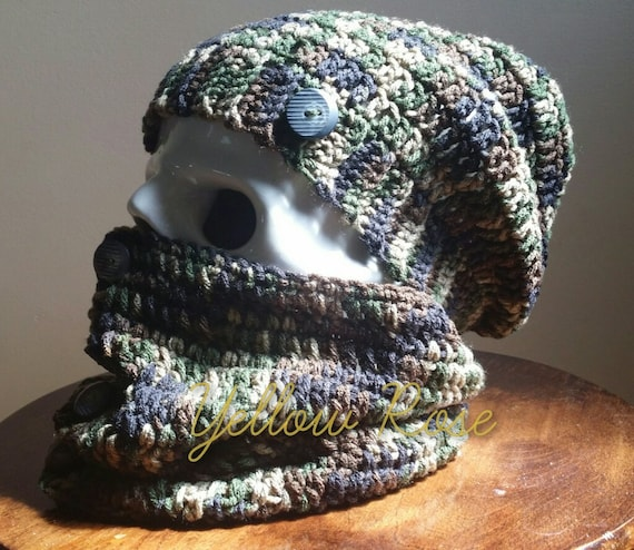 Camo Slouch Hat and Cowl Set