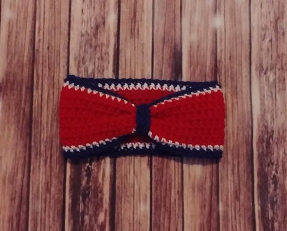 Houstan Texans Bow-Style Ear Warmer Headband. Red, White, and Blue. Free Shipping!