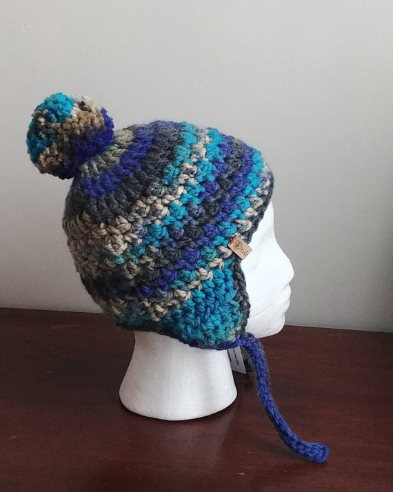 Chunky Blues Earflap Hat Youth Large