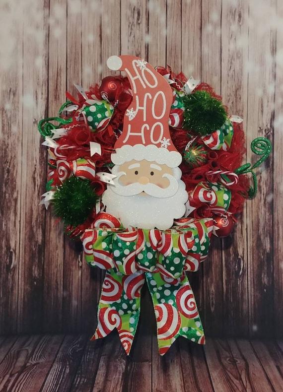 Ho Ho Ho Wreath, Santa Wreath, Santa Deco Mesh Wreath, Christmas Wreath, Holiday Wreath, Festive Wreath, Wreath, Free Shipping