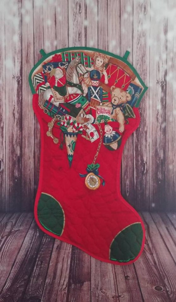 Sale! Quilted Christmas Stocking Wall Decor, Christmas Wall Hanging, Christmas Door Hanger, Christmas Decor, Holiday Decor, Free Shipping