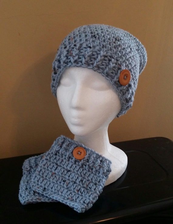 Sale! Blue Speckled Child Hat and Boot Cuff Set. Ready to Ship. Free shipping.
