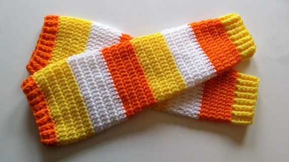 Candy Corn Legwarmers - All Sizes Available.