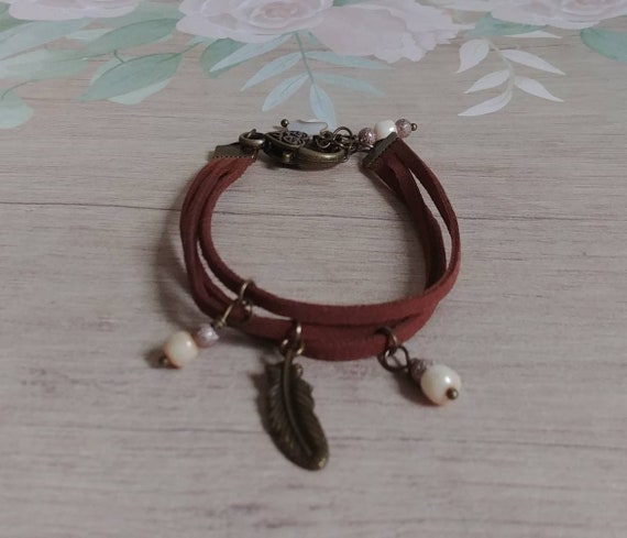 Antique Bronze and Suede Bracelet