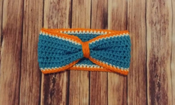 Miami Dolphins Bow-Style Ear Warmer Headband. Orange, teal and white. Free Shipping!