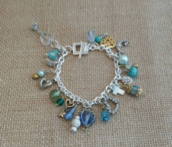 Vintage Blues Charm Bracelet