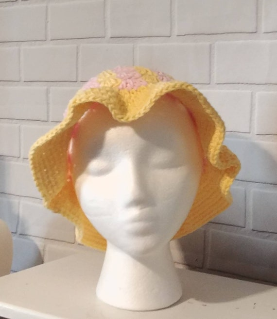 Pink and Yellow Sun Hat Size Youth Medium.