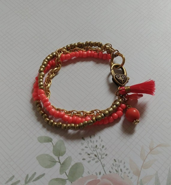 Coral and Gold Beaded Bracelet