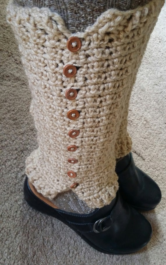 Women's Crochet Button Up Leg Warmers Beige - Leggings - Long Boot Cuffs - Boot Toppers - Free Shipping