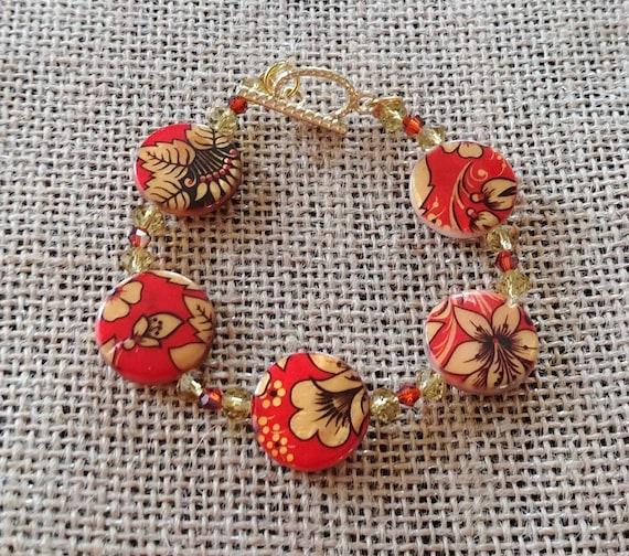 Golden Blooms Beaded Bracelet
