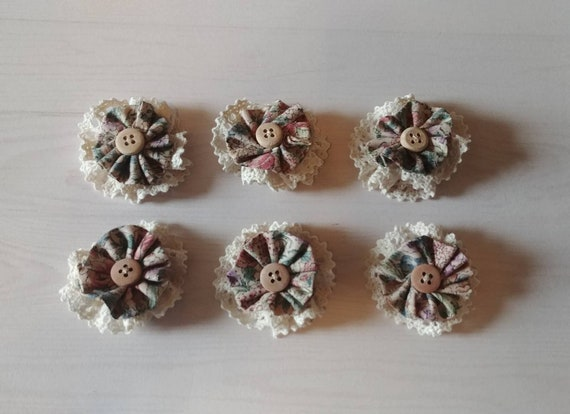 Small Fabric and Lace Flowers Set of 6