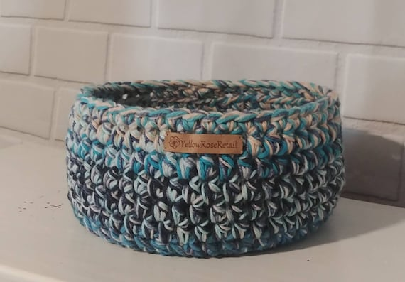 Blue Chunky Crochet Basket.