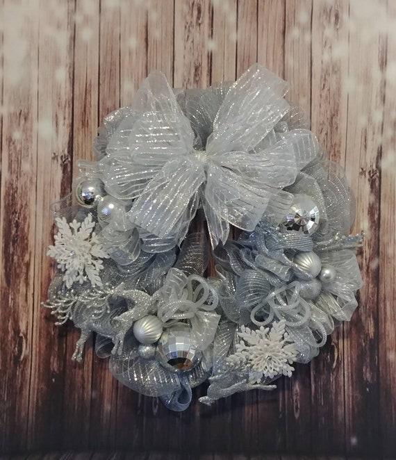 Silver Wreath, Silver Deco Mesh Wreath, Reindeer Wreath, Snowflake Wreath, Christmas Wreath, Holiday Wreath, Christmas Decor, Today Decor