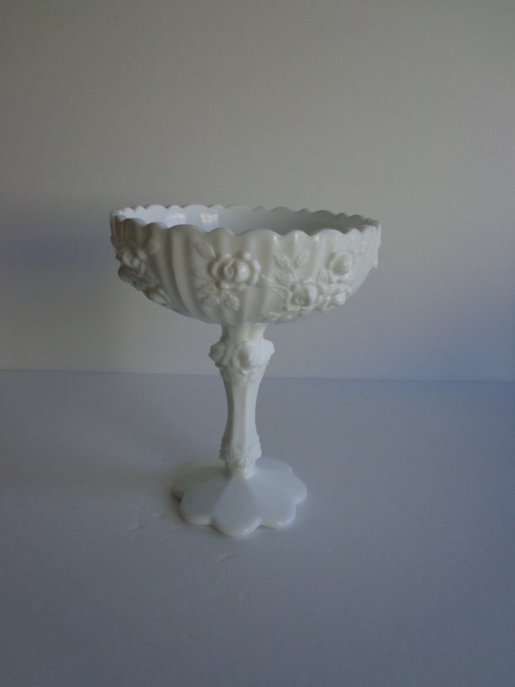 Fenton Cabbage Rose Footed Candy Dish