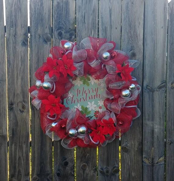 Poinsettia Wreath, Christmas Wreath, Deco Mesh Wreath, Large Christmas Wreath, Holiday Wreath, Holiday Decor, Christmas Decor, Free Shipping