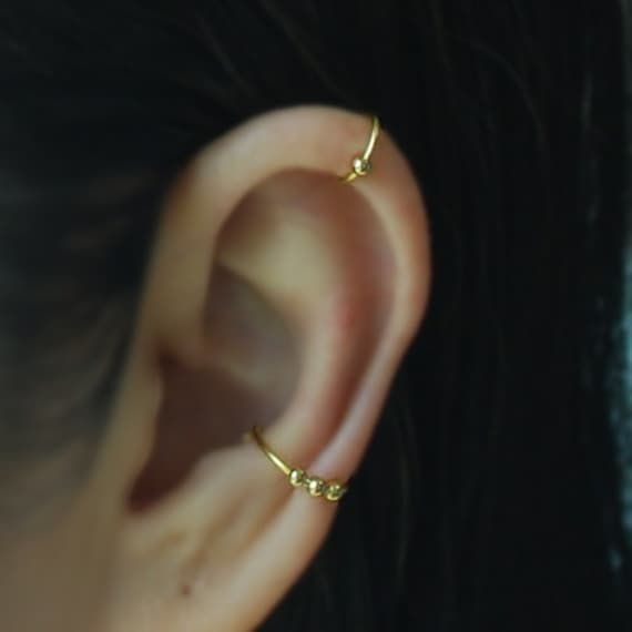 Ear Wrap Fake Body Piercing,No Piercing Cartilage Ear Cuff Ear Jacket Gift for her 20gauge Fake conch piercing with ball Please select an option.