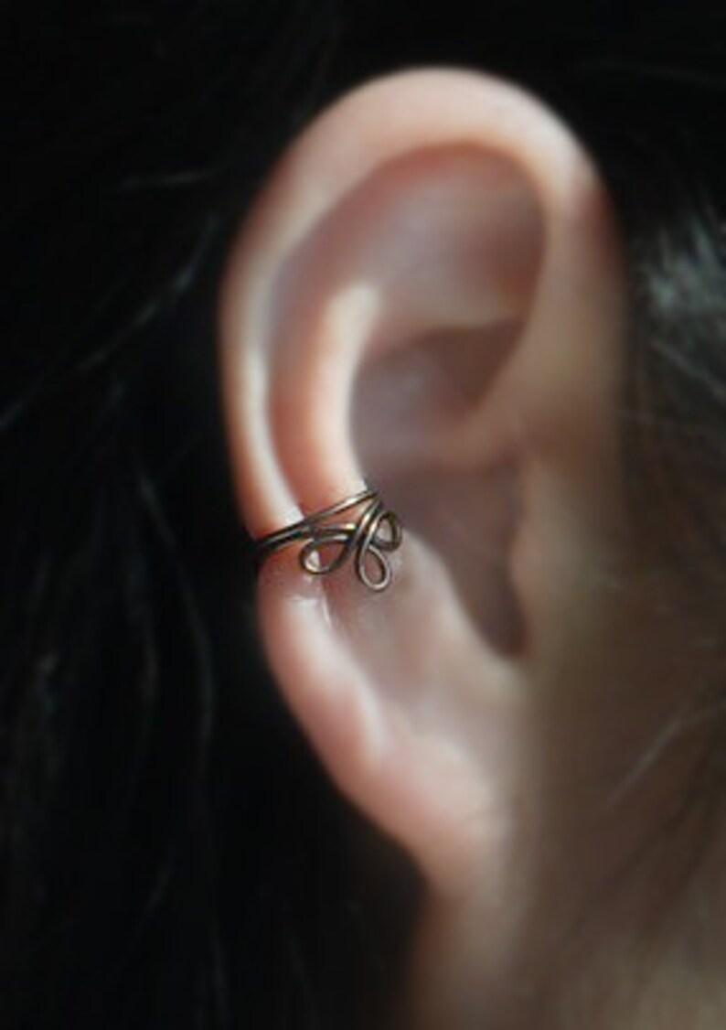 Ear Wrap,cartilage earring Ear Jacket Bronze Color Twist infinity Ear Cuff