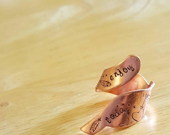 Copper wrap ring, hand stamped feather ring. Enjoy today. Statement jewelry.