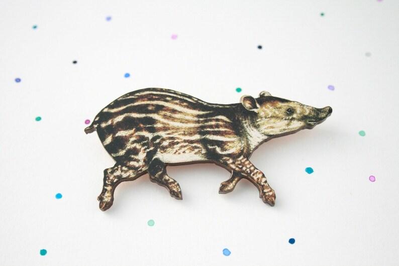laser cut wooden tapir badge  pin Wooden Tapir Brooch Great animal gift