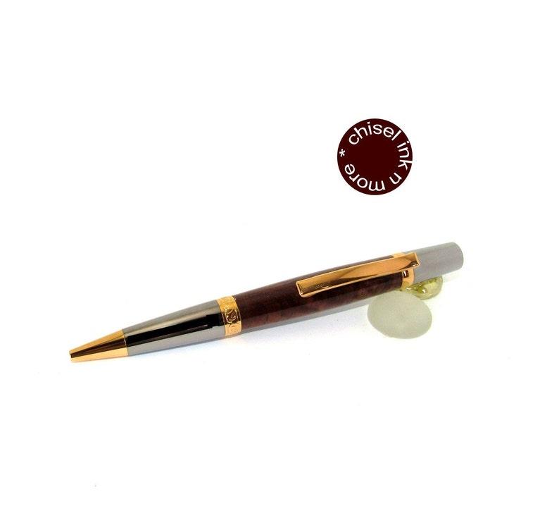 Figured Walnut Wood Wall Street II with Black Titanium and 20kt gold Ballpoint Twist Pen