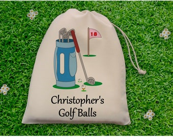 Personalised Golf Ball Bag - Pink - Blue
