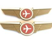 Kids Airplane Vintage Style Pilot Wings Lapel Pins Plastic Badges Party Favors Lot of 2