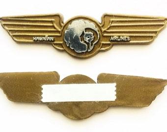 Vintage Hawaiian AIRLINES 1990's Pilot Plastic Kiddie Wings Self Adhesive Pins Set of 2