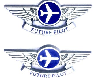 2 Kids Aviator Silver Future Pilot Plastic Airplane Pilot Wing Pins
