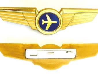 2 Kids Airplane Airline Pilot Wing Pins Plastic Badges Party Favors