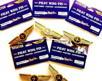 Kids Airplane Airline Pilot Wing Pin Plastic Badge Lot of 5 Party Favors New in Package